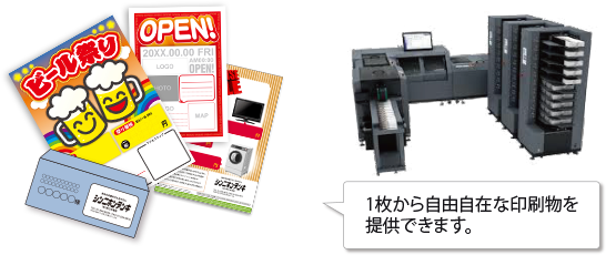 1枚から自由自在な印刷物を提供できます。